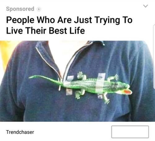 ad for people who are living their best life with a toy alligator taped to their chest