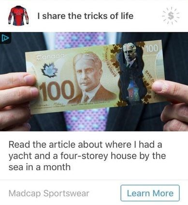 ad for a Canadian bill and having a home by the sea