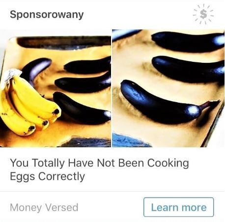 ad about not cooking eggs correctly but the pic in the ad are bananas