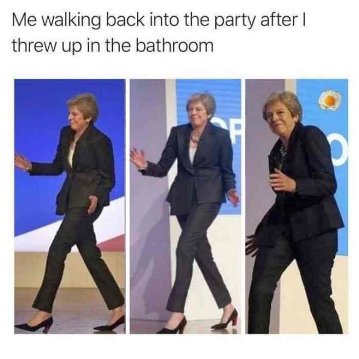 dancing Theresa May meme about returning to the party after throwing up