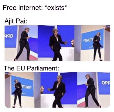 dancing Theresa May meme about the EU GDPR rules taking away free internet