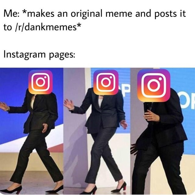 dancing Theresa May meme about Instagram pages stealing memes