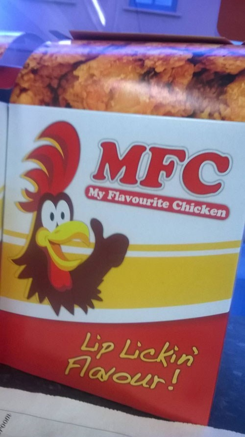 "meme about off brand names ""KFC"" to ""MFC"" chicken"