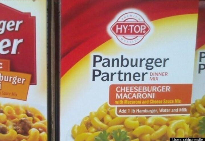 "meme about off brand names ""hamburger helper"" to ""panburger partner"""