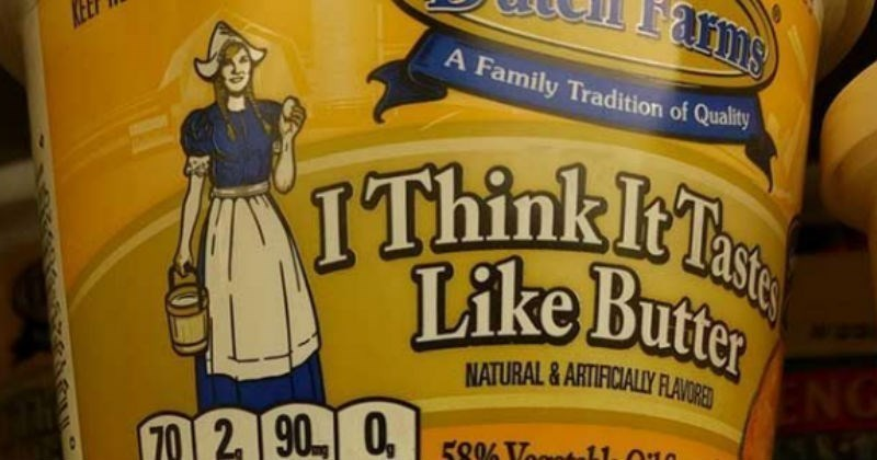 "meme about off brand names ""I can't believe it's not butter"" to ""I think it tastes like butter"""
