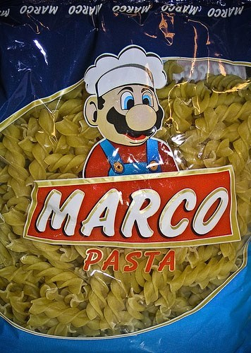 "meme about off brand names ""marco pasta"" with Mario on the packaging"