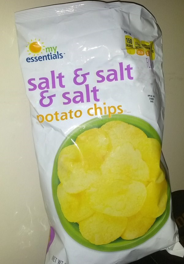 "meme about off brand names ""potato chips with salt"" to ""salt & salt & salt potato chips"""