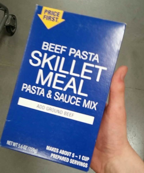 meme about off brand names about beef pasta meal that comes without the beef