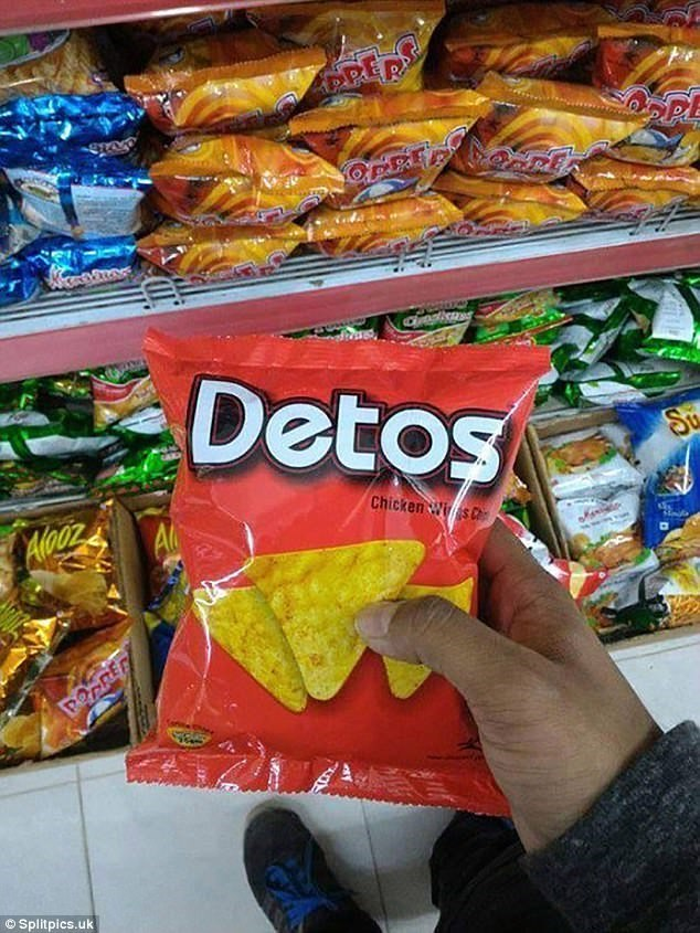 "meme about off brand names ""Doritos"" to ""Detos"""