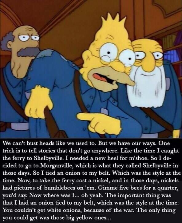 simpsons meme about the old days and how onions were a fashion statement
