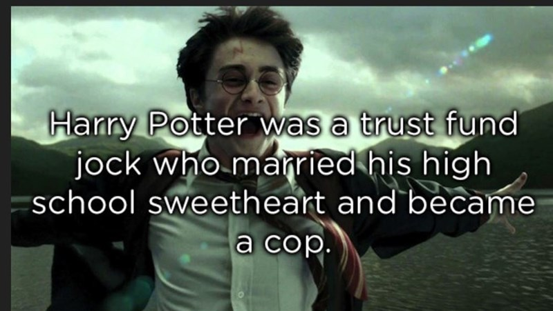 meme image about harry potter being a trust fund baby