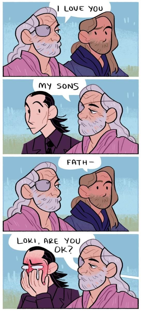 meme image of thor and lokis father saying he loves them