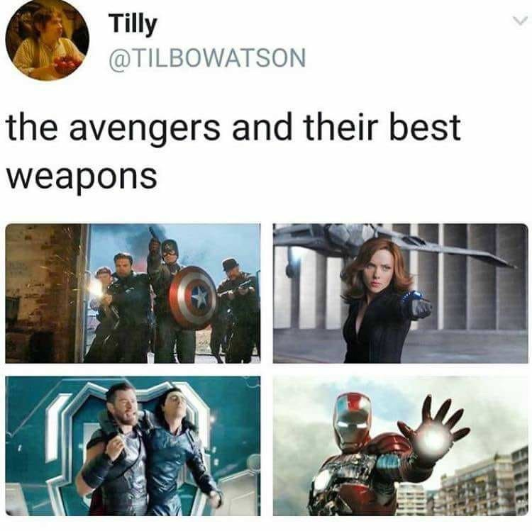 meme tweet about the avengers and their best weapon