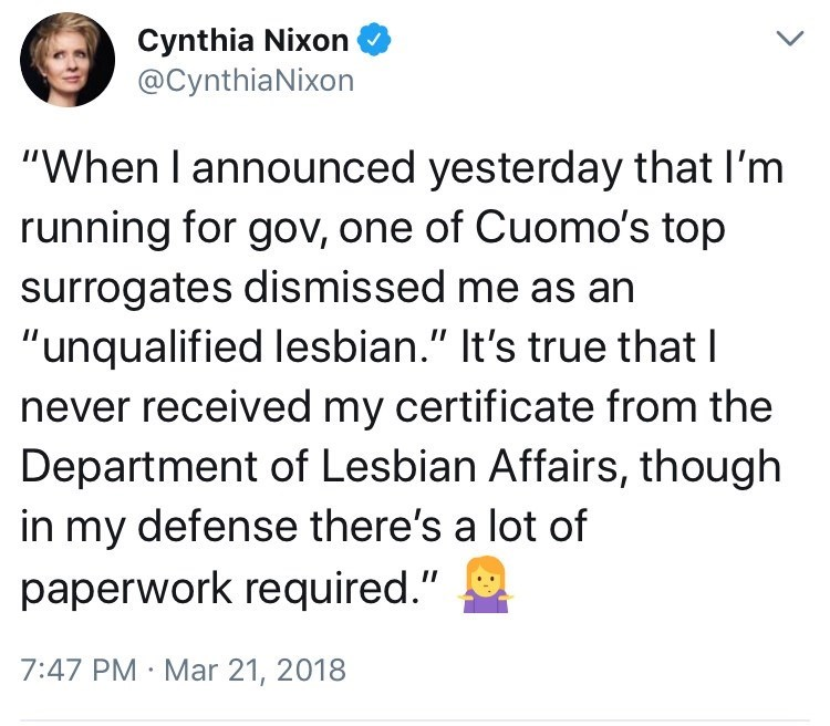 tweet post Cynthia Nixon not receiving her certificate from the department of lesbian affairs