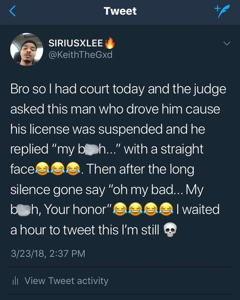 tweet post about a judge being driven because his license got suspended