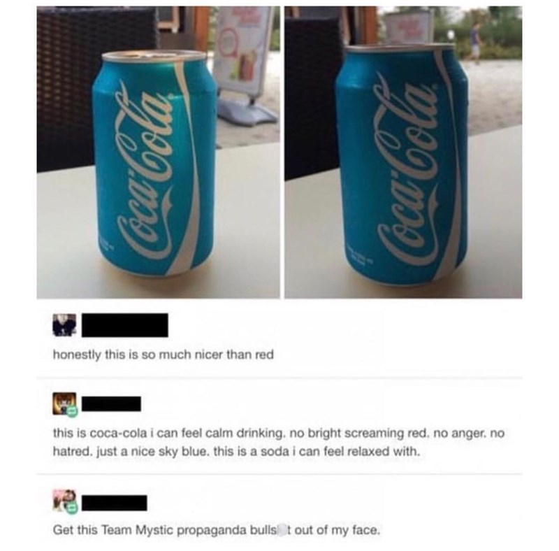 meme post about how coca colas packaging should be blue
