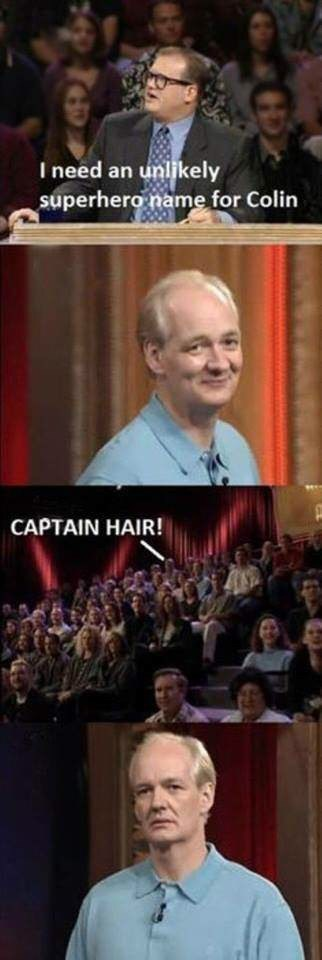 meme image about giving Colin a superhero name