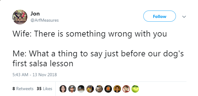 Text - Jon Follow @ArfMeasures Wife: There is something wrong with you Me: What a thing to say just before our dog's first salsa lesson 5:43 AM - 13 Nov 2018 8 Retweets 35 Likes