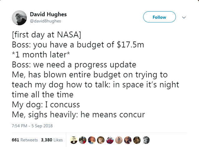 Text - David Hughes Follow @david8hughes [first day at NASA] Boss: you have a budget of $17.5m *1 month later* Boss: we need a progress update Me, has blown entire budget on trying to teach my dog how to talk: in space it's night time all the time My dog: I concuss Me, sighs heavily: he means concur 7:54 PM-5 Sep 2018 661 Retweets 3,380 Likes