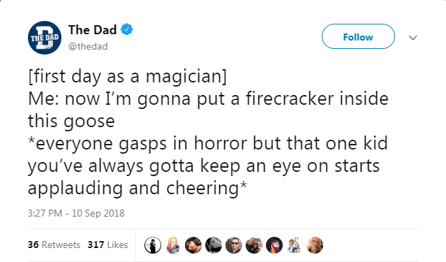Text - The Dad Follow THE DAD @thedad [first day as a magician] Me: now I'm gonna put a firecracker inside this goose everyone gasps in horror but that one kid you've always gotta keep an eye on starts applauding and cheering* 3:27 PM - 10 Sep 2018 36 Retweets 317 Likes