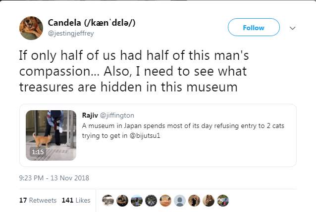 Text - Candela (/ken'dela/) @jestingjeffrey Follow If only half of us had half of this man's compassion... Also, I need to see what treasures are hidden in this museum Rajiv@jiffington A museum in Japan spends most of its day refusing entry to 2 cats trying to get in @bijutsu1 1:15 9:23 PM - 13 Nov 2018 17 Retweets 141 Likes