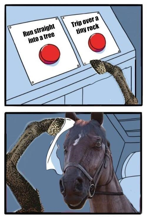 RDR2 meme about horses being difficult to control when riding them