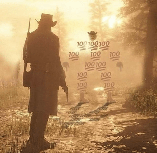 RDR2 character in gun duel against emoji sheriff