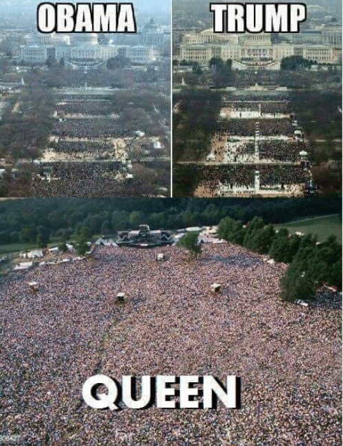 Pics of Obama's presidential inauguration next to Trump's, above a pic of a Queen concert with many more people in attendance