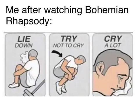 meme about trying not to cry after watching 'Bohemian Rhapsody'