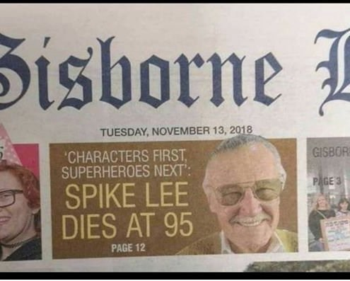 Font - Sisborne TUESDAY, NOVEMBER 13, 2018 CHARACTERS FIRST SUPERHEROES NEXT': GISBOR PAGE 3 SPIKE LEE DIES AT 95 PAGE 12