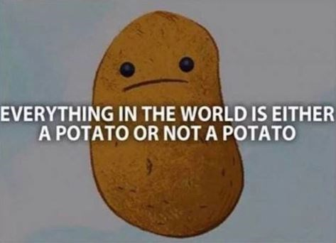 Potato - EVERYTHING IN THE WORLD IS EITHER A POTATO OR NOT A POTATO