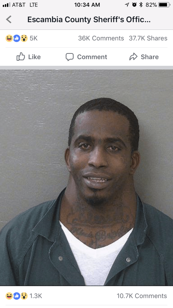 mug shot of man with massive neck posted to Escambia County Sheriff's Office