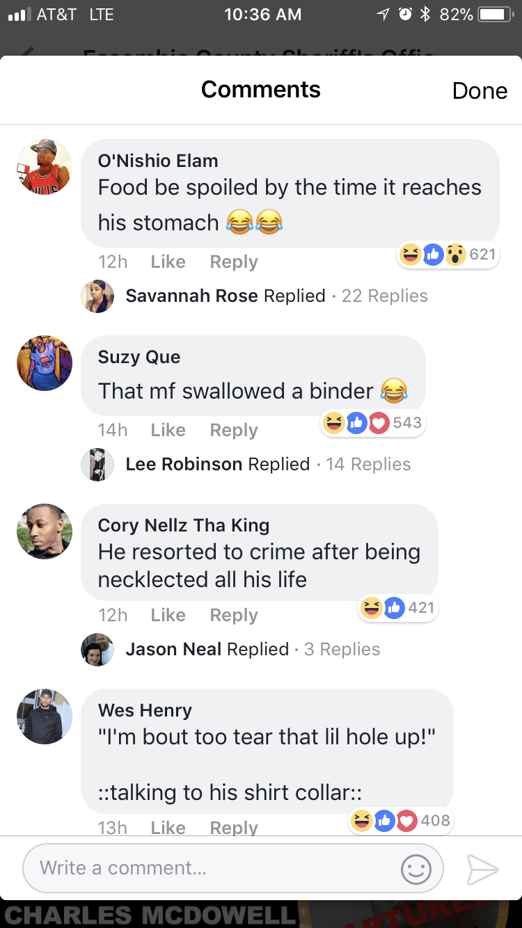 more large neck comment jokes on facebook