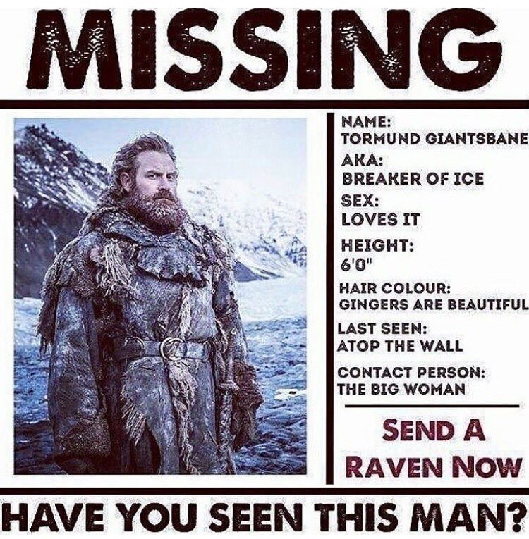 missing person poster of Tormund from Game of Thrones