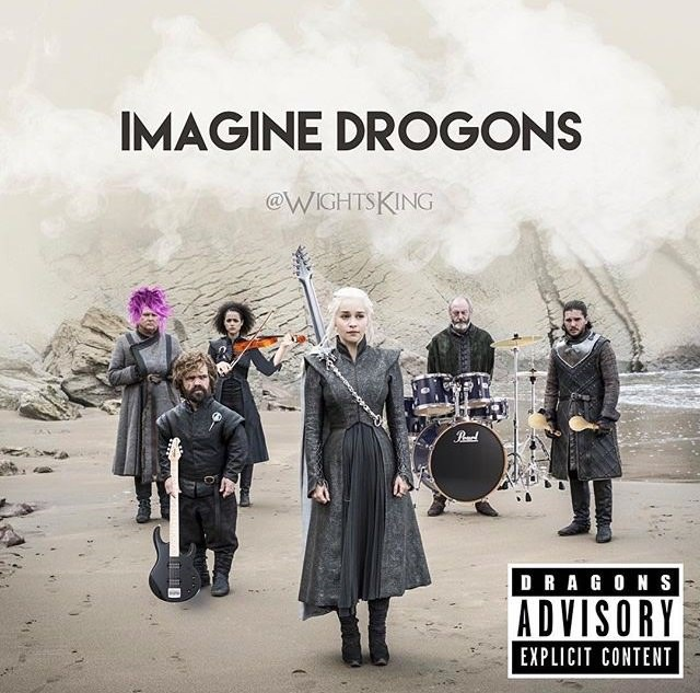 """fake album cover of band made up of Game of Thrones character parodying the band """"Imagine Dragons"""""""