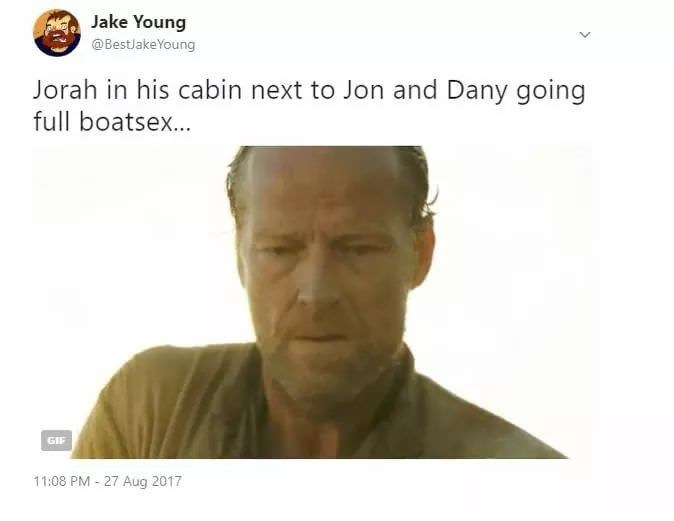 picture of Jorah Mormont looking horrified in reaction to finding out Jon and Dany are together