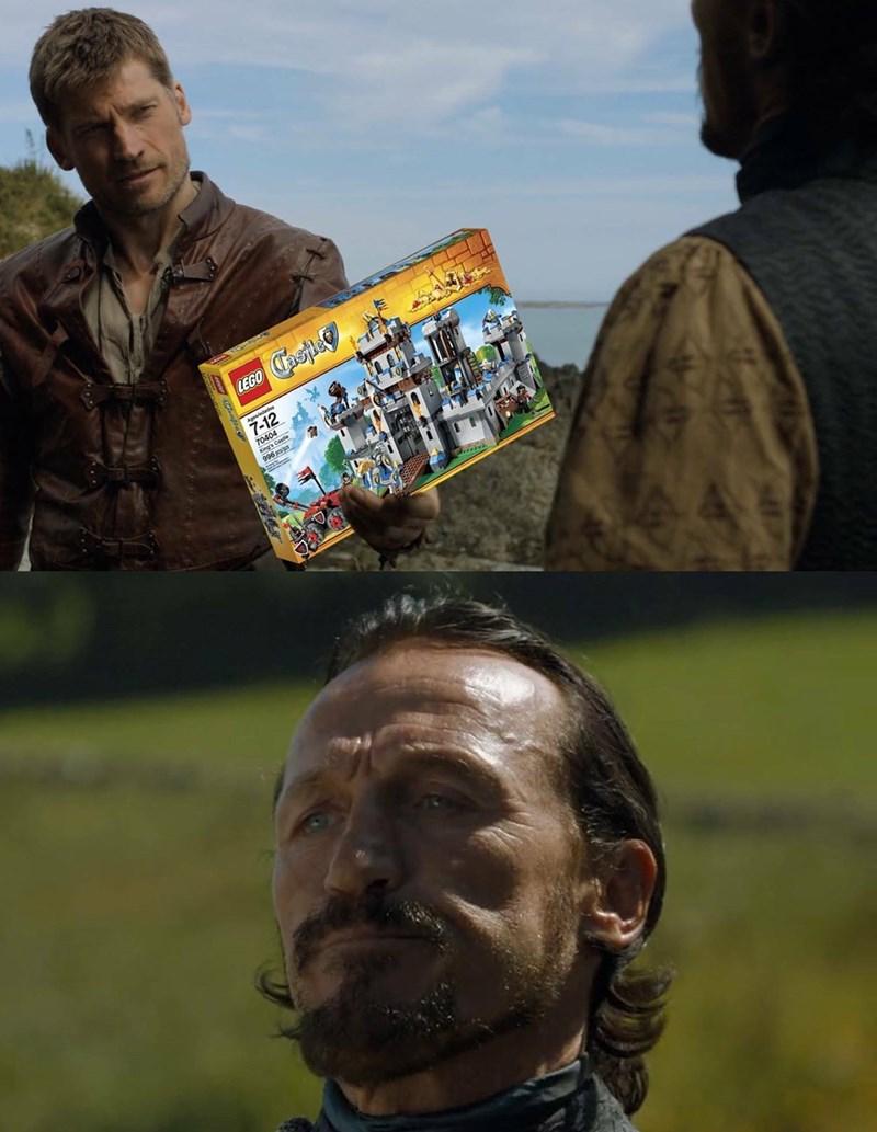 GoT meme about Jaime persuading Bronn with Lego castle