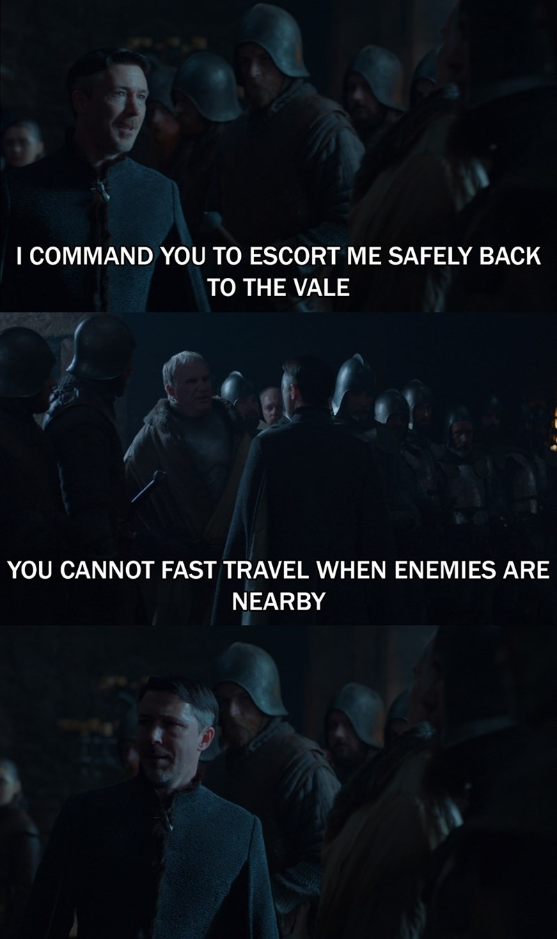 GoT and Skyrim meme about Little Finger not being able to fast travel out of Winterfell after his betrayal of the Starks is revealed