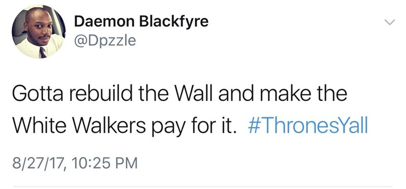 Tweet likening the US-Mexico border situation to the wall getting breached in Game of Thrones