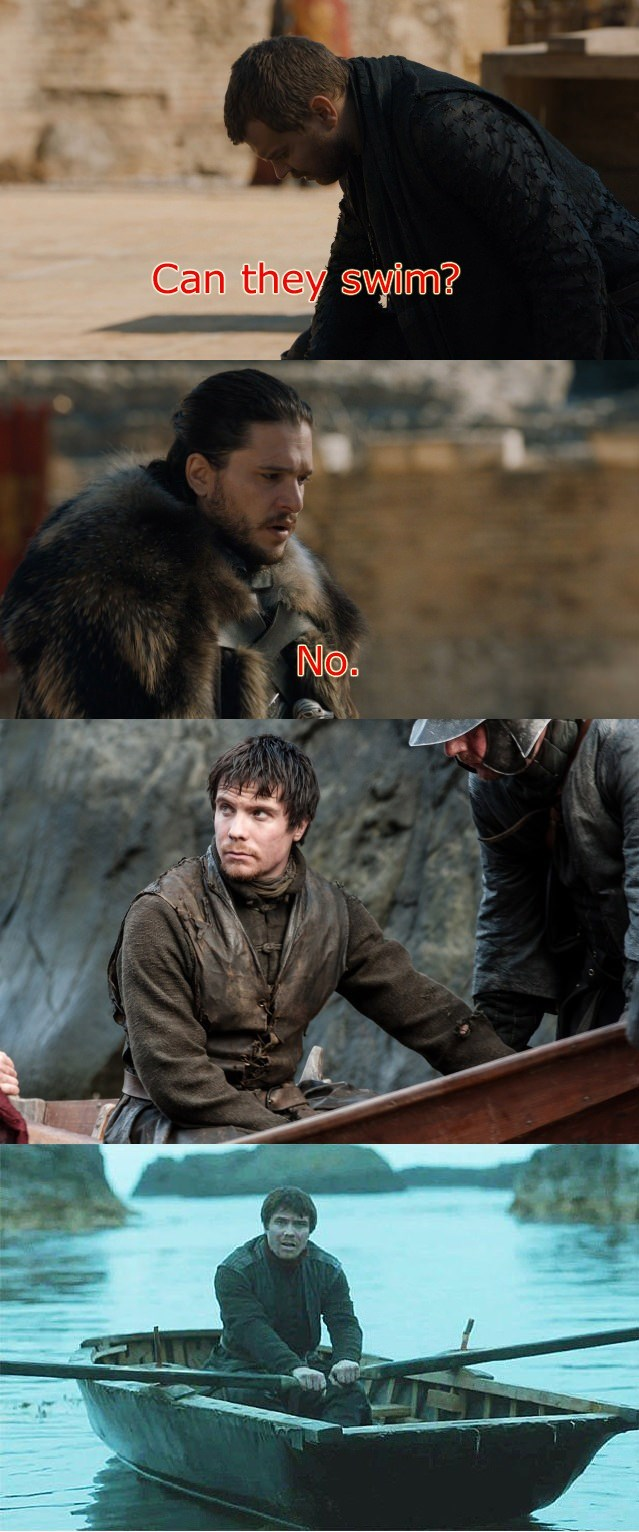 GoT meme about Gendry rowing into the sea to avoid white walkers that can't swim