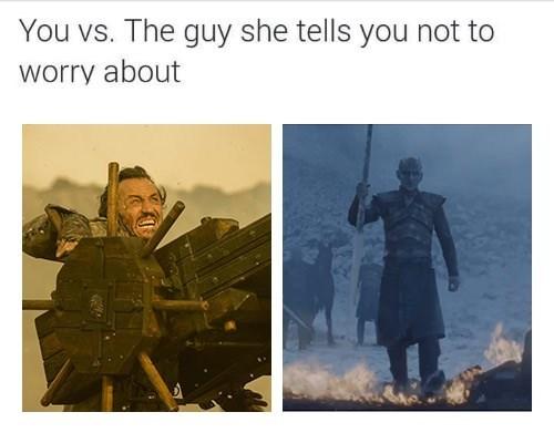 """you vs the guy"" meme with Bronn with arrow shooting machine vs the night king javeling"