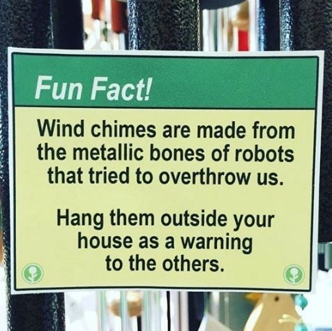 "fake ""fun fact"" about wind chimes being made from robot bones"