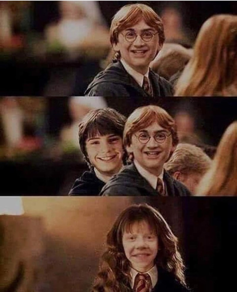 Pics of Harry, Ron and Hermione from Harry Potter with swapped faces