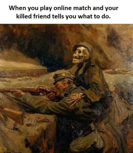 Painting - When you play online match and your killed friend tells you what to do.