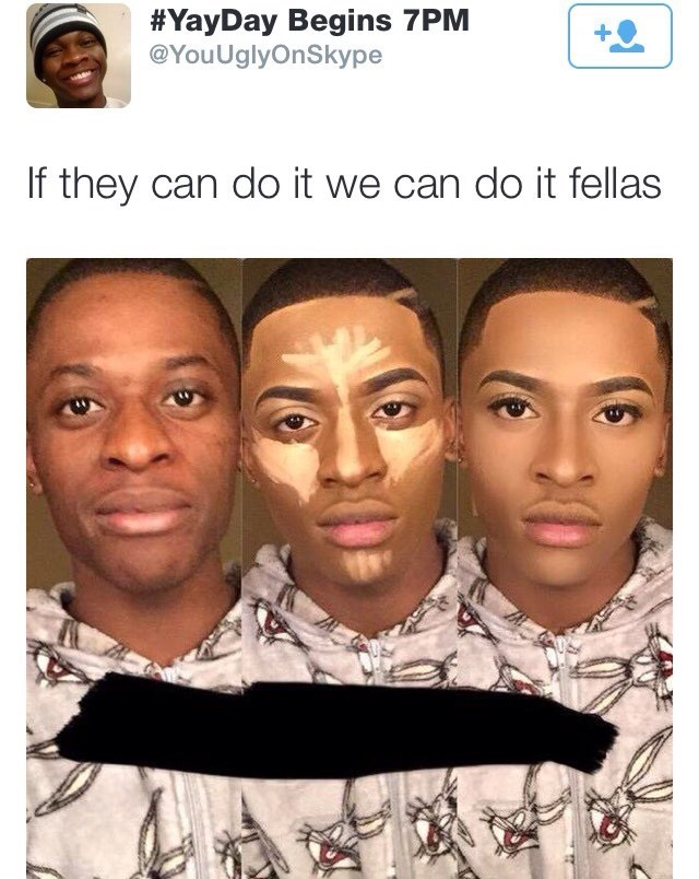 meme about men learning to put on makeup as professionally as women can