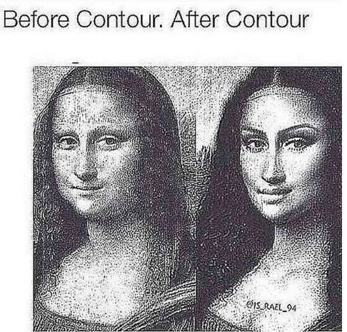 "Caption that reads, ""Before contour, after contour"" above a pic of the Mona Lisa painting next to the Mona Lisa with makeup contour"