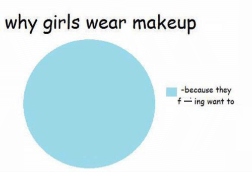 pie chart graphing why girls wear makeup with the only reason being that they want to
