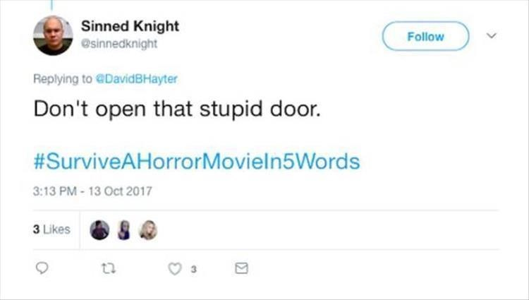 Text - Sinned Knight Follow @sinnedknight Replying to @DavidBHayter Don't open that stupid door. #SurviveAHorrorMoviel n5Words 3:13 PM- 13 Oct 2017 3 Likes