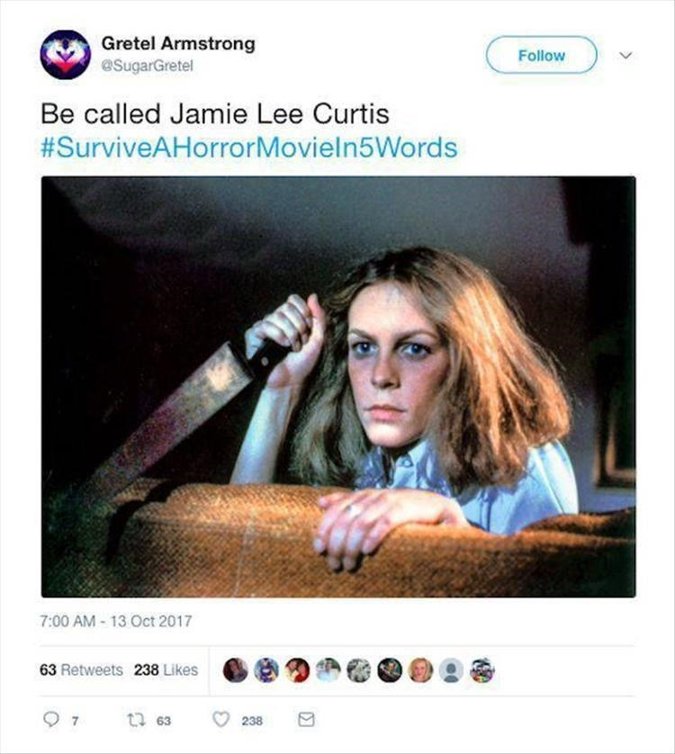 Product - Gretel Armstrong @SugarGretel Follow Be called Jamie Lee Curtis #SurviveAHorrorMovieln5Words 7:00 AM-13Oct 2017 63 Retweets 238 Likes 238 63