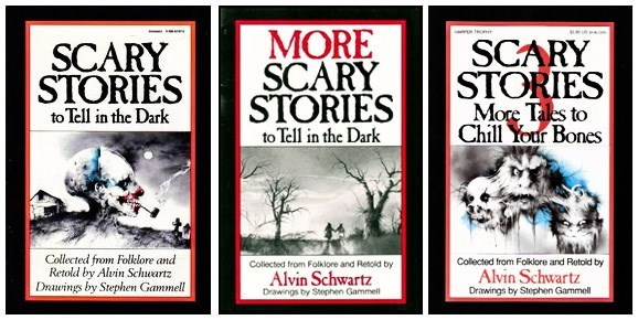 Poster - MORE SCARY STORIES to Tell in the Dark m SCARY STORIES SCARY STORIES More Tles to Chill Your Bones to Tell in the Dark Collected from Folklore and Retold by Alvin Schwartz Drawings by Stephen Gammell Collected from Folklore and Retoid by Collected from Folklore and Retold by Alvin Schwartz Alvin Schwartz Drawings by Stephen Gammell Drawings by Sephen Gammel